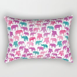 Watercolor Elephant Stampede Pretty Pattern Rectangular Pillow
