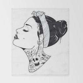 TATTOO--GIRL Throw Blanket