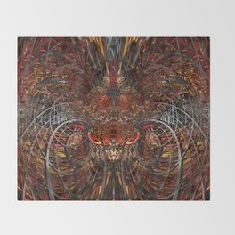 Tribal Red Dragon Lion Fx  Throw Blanket