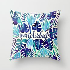 Tropical Wanderlust – Blue Throw Pillow