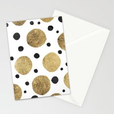 Modern abstract faux gold black watercolor polka dots pattern Stationery Cards