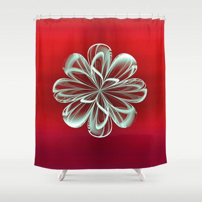 Cyan Bloom on Red Shower Curtain
