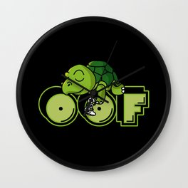Oof Gamer Meme Turtle Video Game Gift Wall Clock