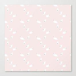 Swan Pattern on Pink 034 Canvas Print