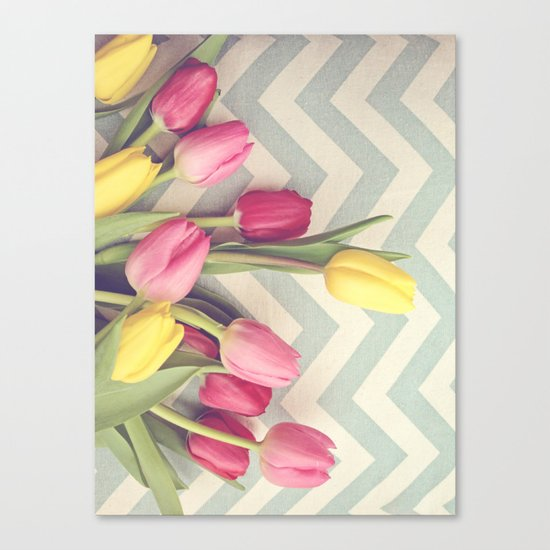 Tulips and Chevrons Canvas Print