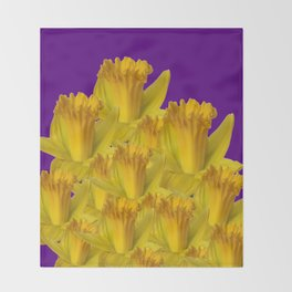 ROYAL PURPLE YELLOW SPRING DAFFODILS Throw Blanket
