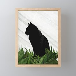 Black cat greenhouse Framed Mini Art Print
