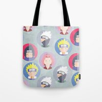 naruto Tote Bags featuring Naruto icons by Maha Akl