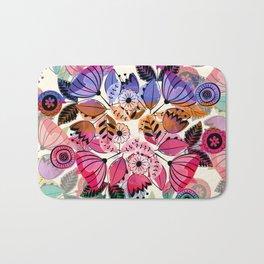 Pink and indigo flower pattern Bath Mat