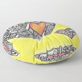 Zendoodle Heart Orange and Yellow Floor Pillow