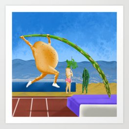 New potato asparagus vaulting at the spring edition of Seasonal Fruit and Veggie Olympics Art Print