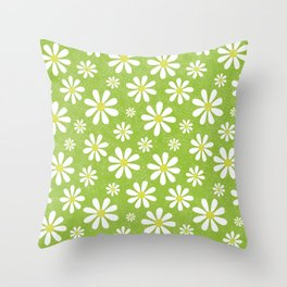 DAISIES ON APPLE GREEN Throw Pillow
