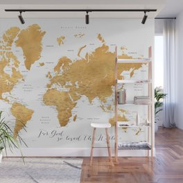 For God so loved the world, world map in gold Wall Mural