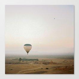 Ballon flight view of desert in sunrise Canvas Print