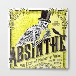 Vintage 1871 Absinthe Gold Liquor Skeleton Elixir Aperitif Cocktail Alcohol Advertisement Poster Art Metal Print