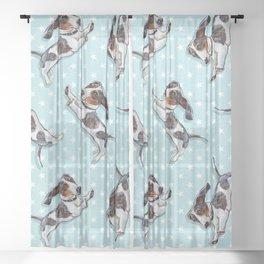 Cute Dachshund Pattern Sheer Curtain