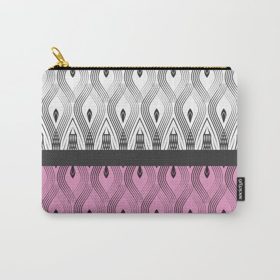Art Deco 55 . White black and pink textures . Carry-All Pouch