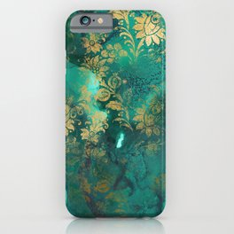 Pretty Green Watercolor With Gold Distressed Floral iPhone Case