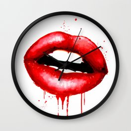 Red Lips Decor Watercolor Print Kiss Love Sexy Girl Fashion Poster Lipstick Chic Makeup Art Wall Clock