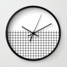 Dotted Grid Black on White Boarder Wall Clock