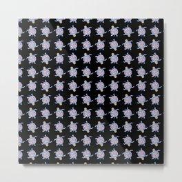 Sea Turtles - Black and blue folk design Metal Print