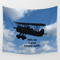 airplane Wall Tapestries featuring airplane by Karl-Heinz Lüpke