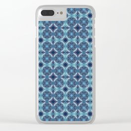 Sapphire Kaleidoscope Pattern Clear iPhone Case