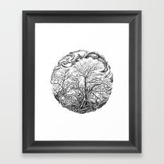 Forest and sky Framed Art Print