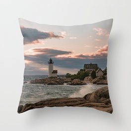 Annisquam Lighthouse sunset Throw Pillow