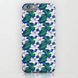 Japanese Yuri Lily Flowers Seamless Patterns Symbols iPhone Case