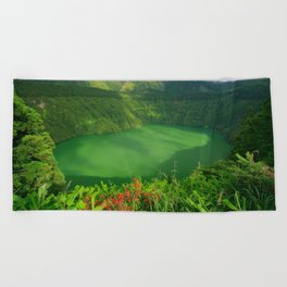 Lake in Azores Beach Towel