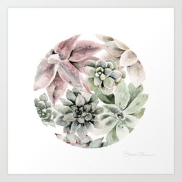 Circular Succulent Watercolor Art Print