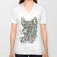 smoking V-neck T-shirts featuring Smoking by mary wong ting fung