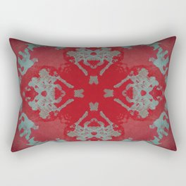 Red Ornament Abstract Design Rectangular Pillow