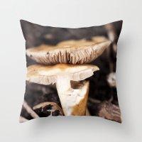 mushroom Throw Pillows featuring Mushroom by Alane Gianetti
