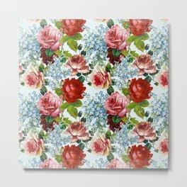 Spring Vintage Botanical Flower Pattern Metal Print