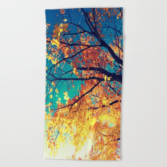 AutuMN Golden Leaves Teal Sky Beach Towel