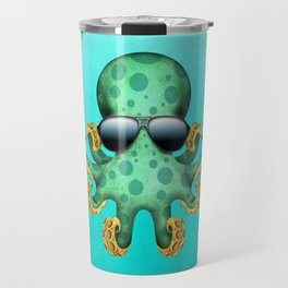 Cute Green Baby Octopus Wearing Sunglasses Travel Mug