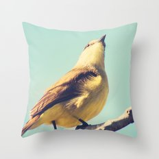 He goes skywards (Retro bird in tree branches and pale turquoise sky) Throw Pillow