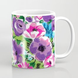 Stylized Watercolor Floral in Bright Colors Coffee Mug