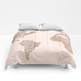 Rosegold Marble Map of the World Comforters