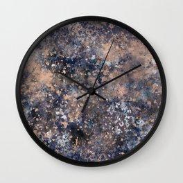 Blue & Rose Gold Splatter Wall Clock