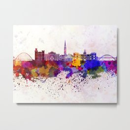 Newcastle skyline in watercolor background Metal Print