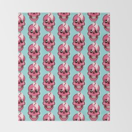 Cute Skull With Spider And Ghosts In Eye Sockets Throw Blanket