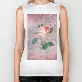 Vintage Rose - on pink grunge background  - Roses and flowers Biker Tank
