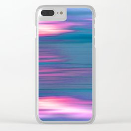 Sea view pink_blue Clear iPhone Case