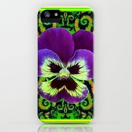 Yellow Color Purple PANSY Green Garden art iPhone Case