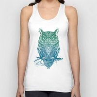 clock Tank Tops featuring Warrior Owl by Rachel Caldwell