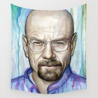 walter white Wall Tapestries featuring Walter White Portrait by Olechka