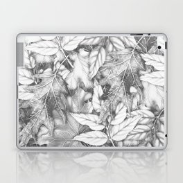 Autumn black white maple leaves bohemian floral pattern Laptop & iPad Skin